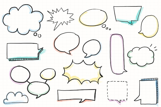 Handgezeichnete sprechblase doodle elementset elements