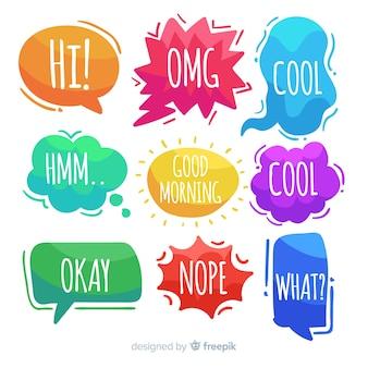 Handgezeichnete sprechblasen mit ausdrücken