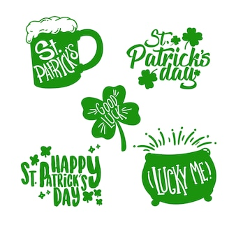 Handgezeichnete st. patrick's day badge collection