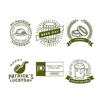 Handgezeichnete st. patrick's day badge collection