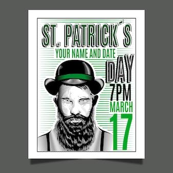 Handgezeichnete st. patrick's day flyer vorlage