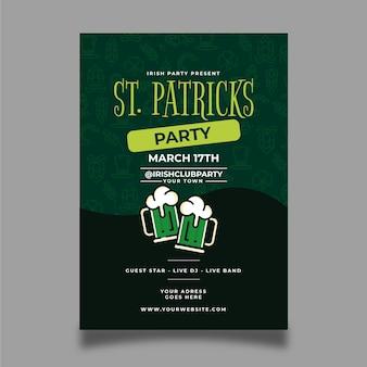 Handgezeichnete st. patrick's day plakat vorlage