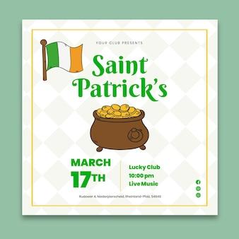 Handgezeichnete st. patrick's day square flyer vorlage