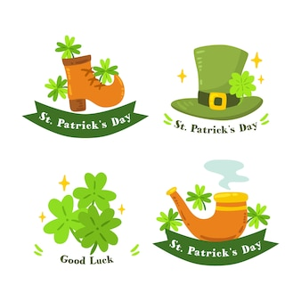 Handgezeichnete st. patricks day label kollektion