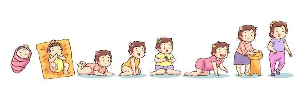 Handgezeichnete stadien einer babyillustration Kostenlosen Vektoren