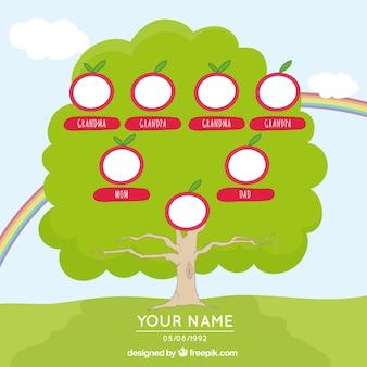 Handgezeichnete stammbaum mit regenbogen und roten elementen