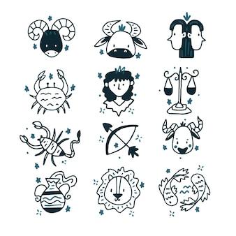 Handgezeichnete sternzeichen-set