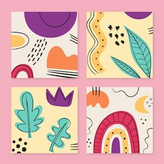 Handgezeichnete stil abstrakte formen abdeckungen