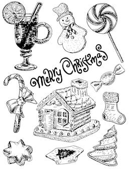 Handgezeichnete stil frohe weihnachten süßigkeiten festgelegt