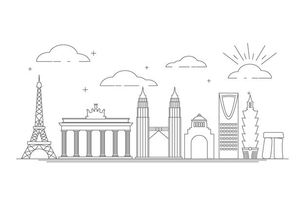 Handgezeichnete stil sehenswürdigkeiten skyline