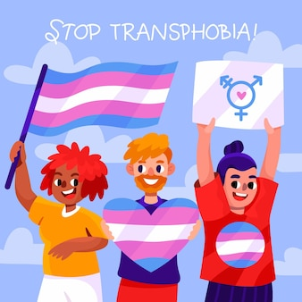 Handgezeichnete stop-transphobie-botschaft illustriert