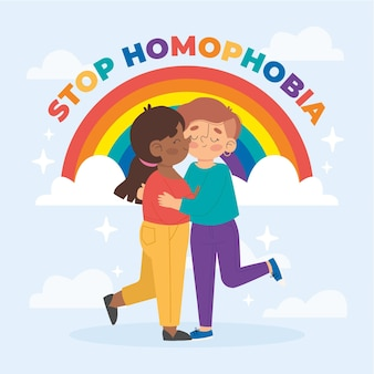Handgezeichnete stopp-homophobie-konzeptillustration