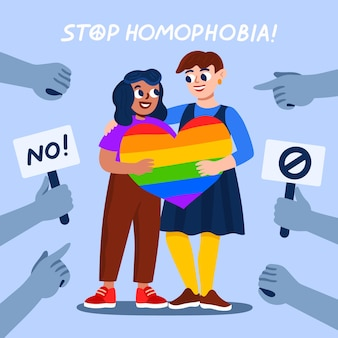 Handgezeichnete stopp-homophobie-nachricht illustriert