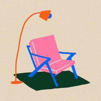 Handgezeichnete stuhlvektormöbel im bunten flachen grafikstil