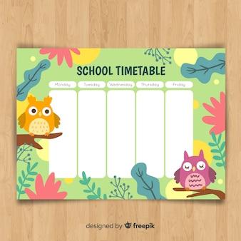 Handgezeichnete stundenplan mit tieren