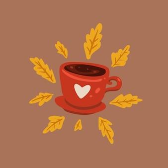 Handgezeichnete süß eine tasse tee. flache abbildung