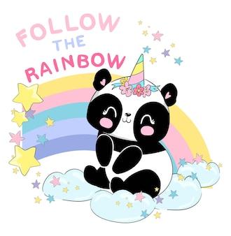 Handgezeichnete süße baby-panda-einhorn- und regenbogen-vektorillustration, kindischer drucksommer