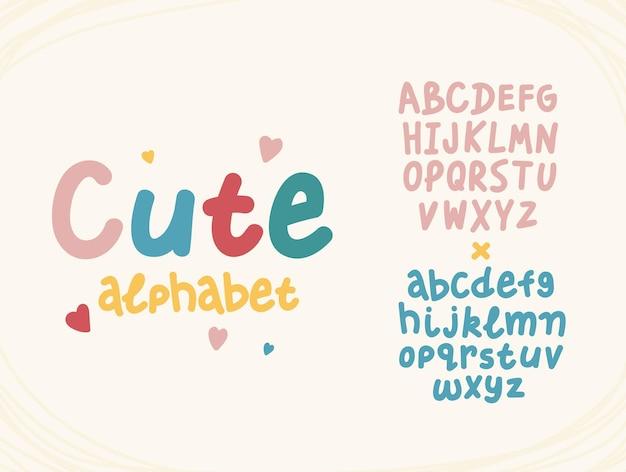 Handgezeichnete süße buchstaben lustige alphabet cartoon englisch abc im bunten typografie-stil