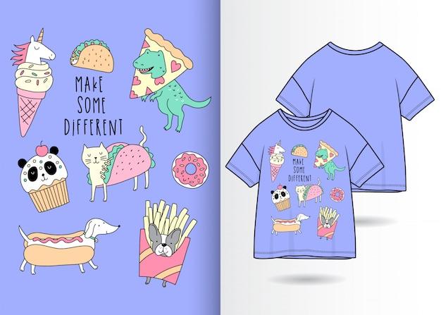 Handgezeichnete süße dinosaurier, einhorn, katze, hund und panda