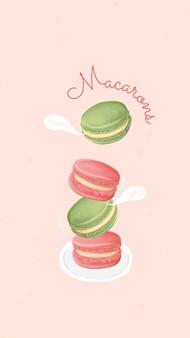 Handgezeichnete süße macaron mobile hintergrundschablone