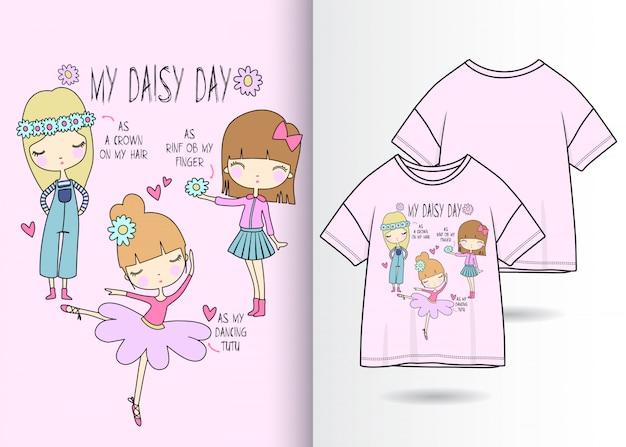 Handgezeichnete süße mädchen mit t-shirt