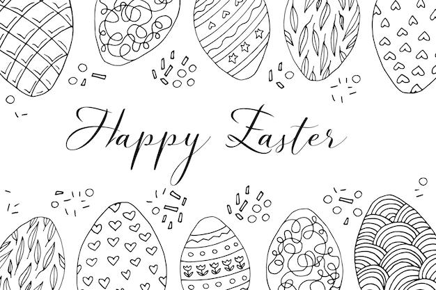 Handgezeichnete süße osterkarte, grenze mit eiern. doodle-vektor-illustration im niedlichen zenart-stil. element für grußkarten, poster, aufkleber und saisonales design. isoliert auf weißem hintergrund
