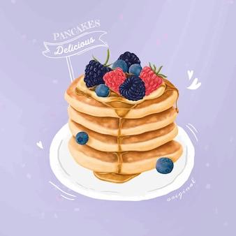 Handgezeichnete süße pfannkuchen