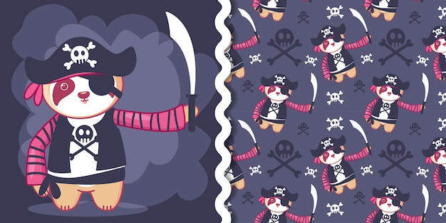 Handgezeichnete süße piratenfaultier für kinder