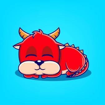 Handgezeichnete süße rote drache schlafende cartoon-vektor-illustration