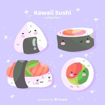 Handgezeichnete süße sushi-sammlung