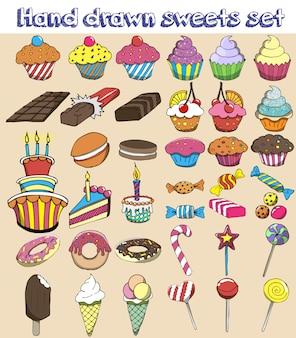 Handgezeichnete süßigkeiten festgelegt. süßigkeiten, süßigkeiten, lutscher, kuchen, cupcake, donut, makronen, eis, gelee.