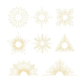 Handgezeichnete sunburst-kollektion