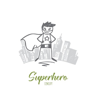 Handgezeichnete superhelden-konzeptskizze