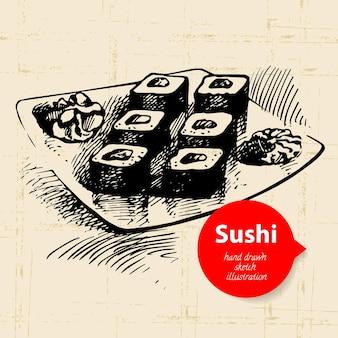 Handgezeichnete sushi-illustration. skizzenhintergrund