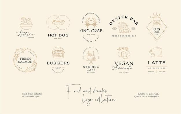 Handgezeichnete sushi vorgefertigte vektor-logo-design-vorlage für restaurant-café