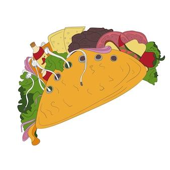 Handgezeichnete tacos-symbol. vektor-abzeichen-fast-food-skizzenstil für broschüren, banner, restaurantmenü und café