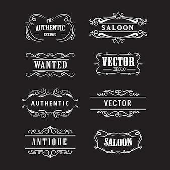 Handgezeichnete tafel vintage des westlichen abzeichens setzen