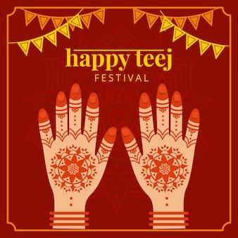 Handgezeichnete teej festival feier illustration festival