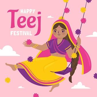 Handgezeichnete teej festival illustration festival