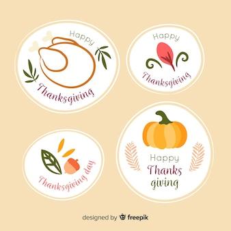 Handgezeichnete thanksgiving-abzeichen-auflistung