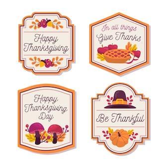 Handgezeichnete thanksgiving-abzeichensammlung