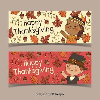 Handgezeichnete thanksgiving-banner