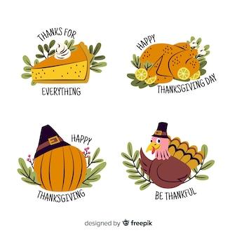 Handgezeichnete thanksgiving-etiketten mit gemüse und truthahn