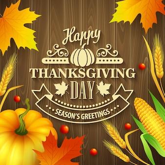 Handgezeichnete thanksgiving-grußkarte mit blättern, kürbis und spica auf holzhintergrund. vektor-illustration eps 10