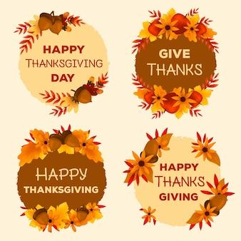 Handgezeichnete thanksgiving-label-auflistung