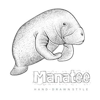 Handgezeichnete tierillustration der seekuh