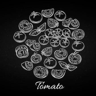 Handgezeichnete tomatenikonen gesetzt.