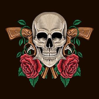 Handgezeichnete totenkopfpistole mit rosen