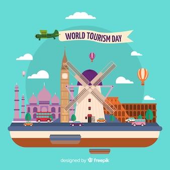 Handgezeichnete tourismus tag vielzahl von sehenswürdigkeiten