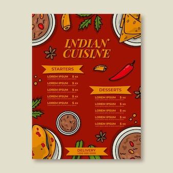 Handgezeichnete traditionelle indische restaurant-menüvorlage